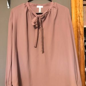 Leith Pink Tie Neck Blouse